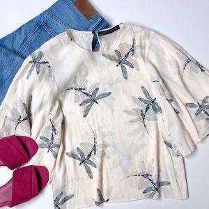 Zara Dragonfly Flutter Sleeve Blouse